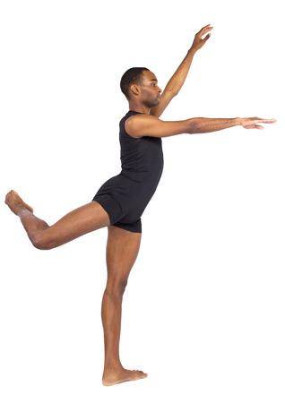Photo pour fit young black dancer balancing to show ballet forms on white background - image libre de droit