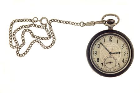 Foto de Vintage antique pocket watch with chain isolated on a white background. - Imagen libre de derechos