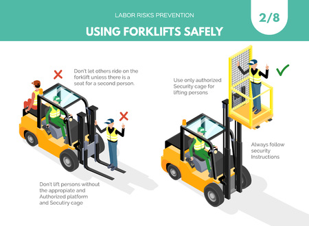 Ilustración de Recomendatios about using forklifts safely. Labor risks prevention concept. Isometric design isolated on white background. Vector illustration. Set 2 of 8. - Imagen libre de derechos
