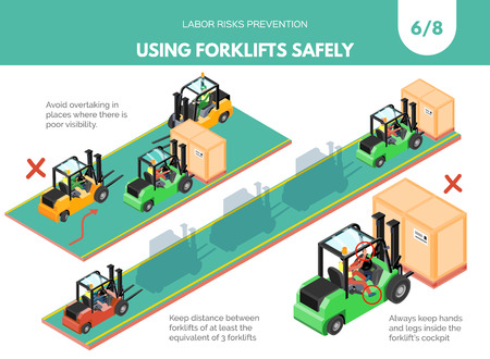 Ilustración de Recomendatios about using forklifts safely. Labor risks prevention concept. Isometric design isolated on white background. Vector illustration. Set 6 of 8 - Imagen libre de derechos