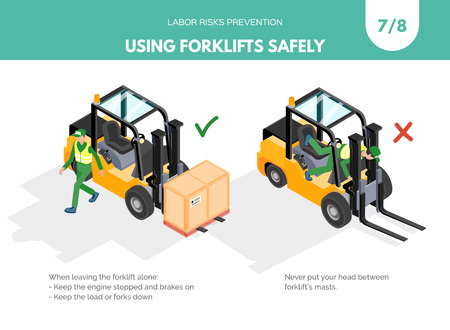 Illustration pour Recomendatios about using forklifts safely. Labor risks prevention concept. Isometric design isolated on white background. Vector illustration. Set 7 of 8 - image libre de droit