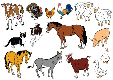 vector set of most popular farm animals isolated on white background