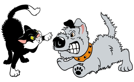 cat and dog fighting,cartoon illustration isolated on white background,vector picture