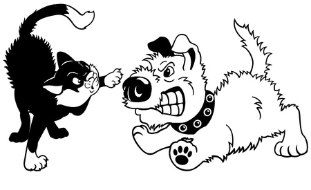 dog and cat fighting,cartoon illustration isolated on white background,black white vector picture