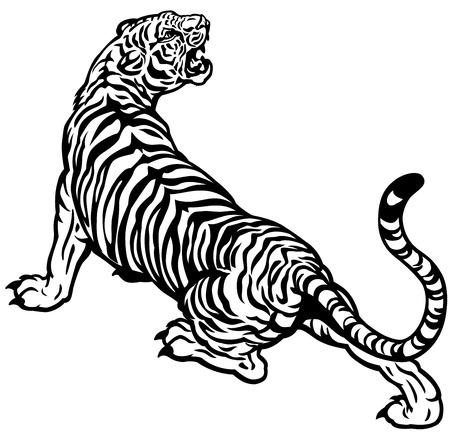 Illustration pour tiger black and white illustration - image libre de droit