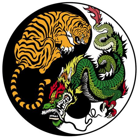 Illustration pour dragon and tiger yin yang symbol of harmony and balance - image libre de droit