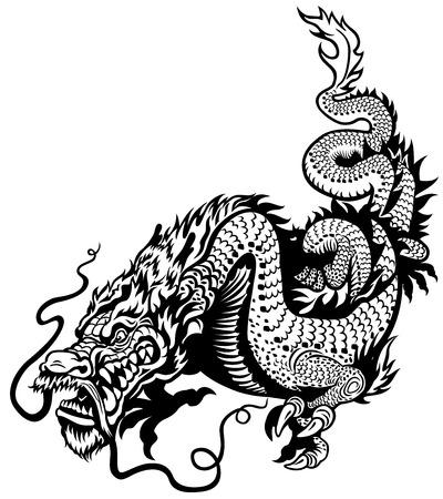 Ilustración de dragon black and white illustration - Imagen libre de derechos