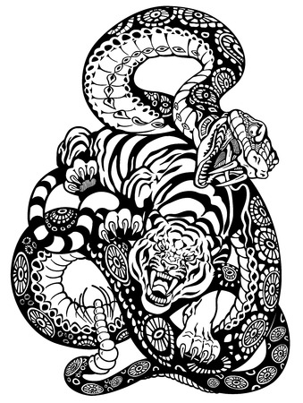 Illustration for snake and tiger fighting, black and white tattoo illustration  - Royalty Free Image