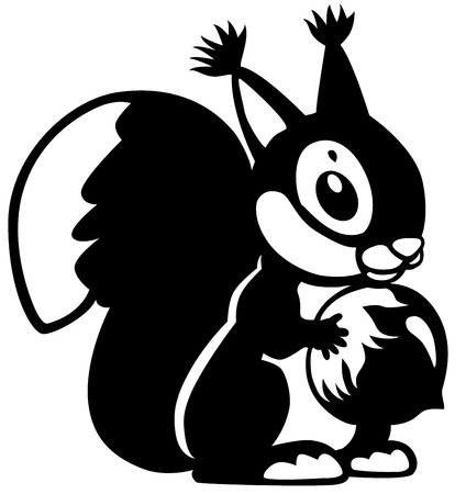 squirrel holding nut, black and white cartoon image