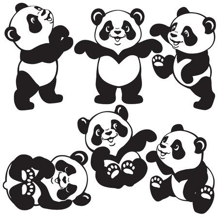 Illustration pour set with cartoon panda bear , black and white images for little kids - image libre de droit