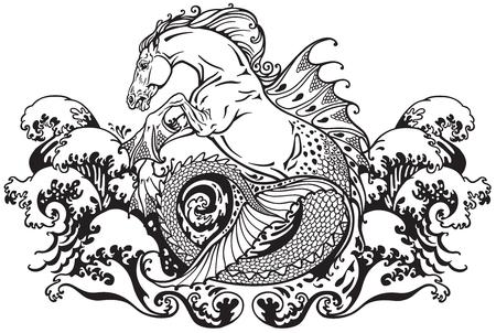 Illustration pour hippocampus or kelpie mythological sea horse . Black and white illustration - image libre de droit