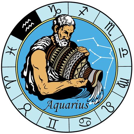 Illustration pour aquarius astrological horoscope sign in the zodiac wheel - image libre de droit