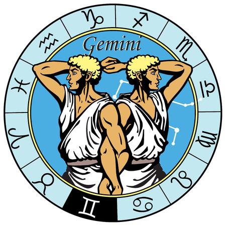 Illustration pour gemini astrological horoscope sign in the zodiac wheel - image libre de droit