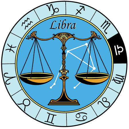 Illustration pour libra astrological horoscope sign in the zodiac wheel - image libre de droit
