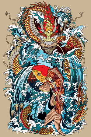 Ilustración de golden dragon and koi carp fish which is trying to reach the top of the waterfall. Tattoo style vector illustration according to ancient Chinese and Japanese myth - Imagen libre de derechos