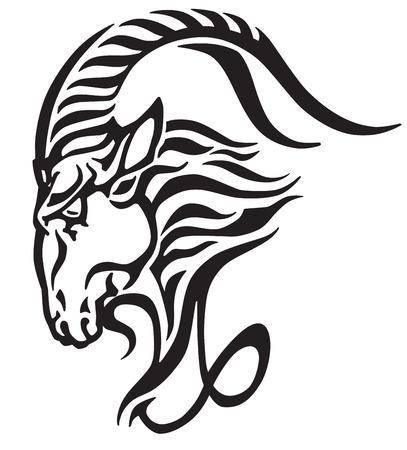 Ilustración de Capricorn icon, head of mythological sea goat. Tribal tattoo style astrological sign, black and white vector illustration. - Imagen libre de derechos