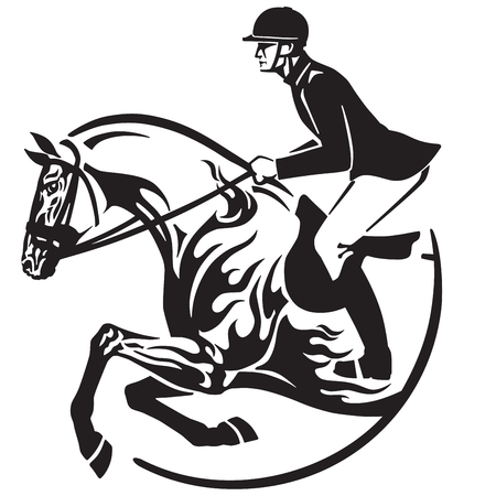 Illustration for Equestrian sport  in black and white vector - Royalty Free Image