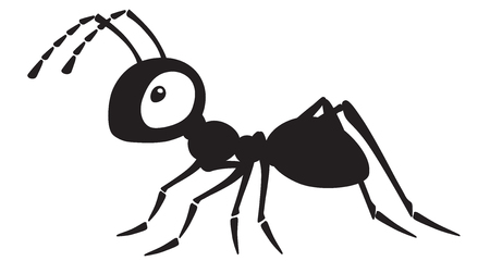 Ilustración de cartoon ant insect . Side view black and white vector illustration - Imagen libre de derechos