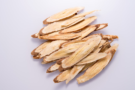 Photo pour Chinese herbal medicines -- Astragalus on white background, blank for text copy space, - image libre de droit