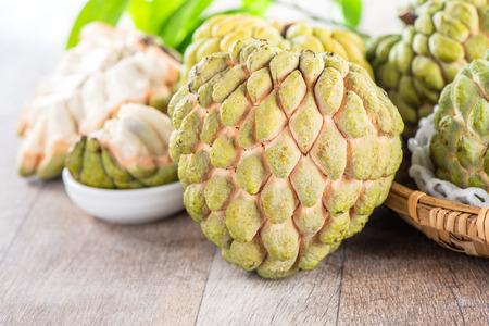 Photo for fresh sugar apple fruit(Custard Apple),sweetsop on wooden table background - Royalty Free Image