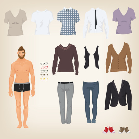 Illustration for Vector hipster dress up doll with an assortment of hipster clothes - Royalty Free Image