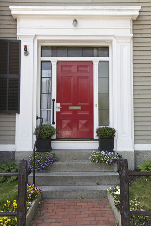 Photo for Red Door, Home in Boston, USA - Royalty Free Image
