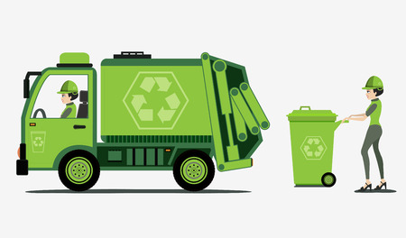 Illustration pour Garbage and trash collection with white background   - image libre de droit