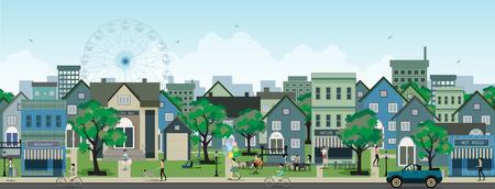 Ilustración de Picture of life in the city in the sky as a backdrop   - Imagen libre de derechos