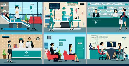 Illustration pour Medical services with doctors and patients in hospitals. - image libre de droit