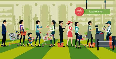 Ilustración de People line up to pay for shopping in supermarkets. - Imagen libre de derechos