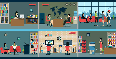 Illustration pour Employees who work in various departments in the area. - image libre de droit