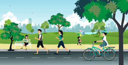 Illustration pour People running in the park with the city as a backdrop. - image libre de droit