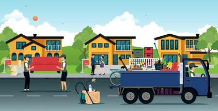 Ilustración de Employees were unloading appliances are moving home. - Imagen libre de derechos