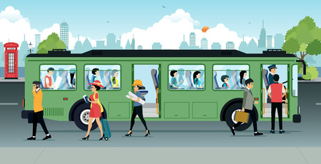 Illustration pour People were running up and down from the bus. - image libre de droit