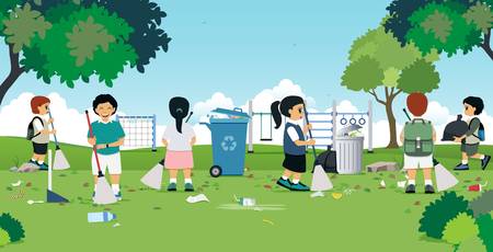 Illustration for Children are cleaning in the garden with a playground. - Royalty Free Image