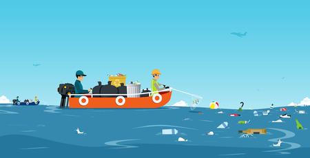 Ilustración de Workers on the ship are collecting garbage in the sea with the sky as a backdrop. - Imagen libre de derechos