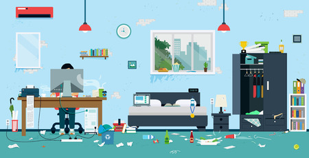 Illustration pour The workplace of freelance is cluttered and dirty. - image libre de droit
