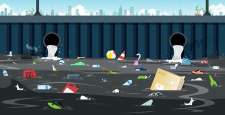 Ilustración de Drainage pipe with dirty waste in the city. - Imagen libre de derechos