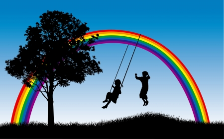 Illustration pour Girl swinging and boy jumping under rainbow - image libre de droit