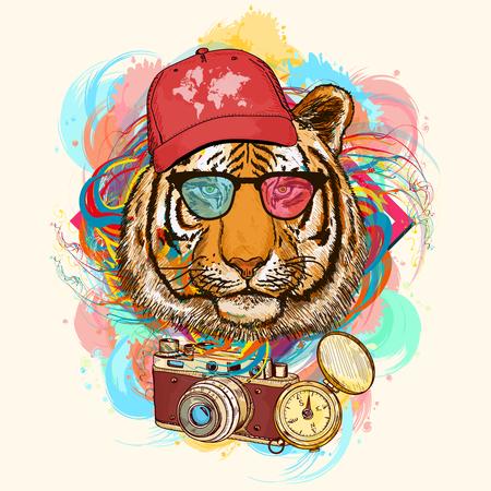 Ilustración de Tiger hipster art print hand drawn animal illustration - Imagen libre de derechos
