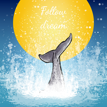 Illustration for Tail of the whale art, whale dives into the water background of the moon follow dream poster vector - Royalty Free Image