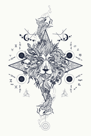 Illustration pour Mystic lion and carp, medieval astrological symbols, occult tattoo. Ornamental Tattoo Lion Head. Lion head tattoo design. Alchemy, religion, spirituality, occultism, tattoo lion art, coloring books. - image libre de droit