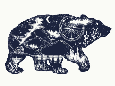 Ilustración de Bear double exposure tattoo art. Tourism symbol, adventure, great outdoor. Mountains, compass. Bear grizzly silhouette t-shirt design - Imagen libre de derechos