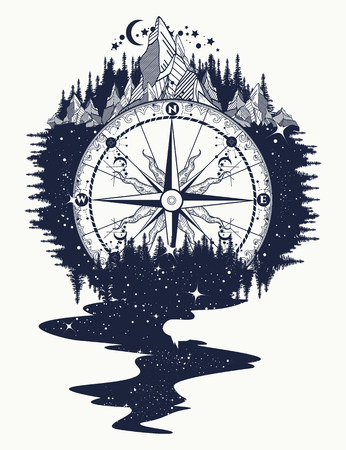 Illustration pour Compass, mountains, river of stars flows tattoo. Mountain antique compass and wind rose. Adventure, travel, outdoors, symbol. Tattoo for travelers, climbers, hikers tattoo boho style - image libre de droit