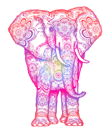 Illustration pour Elephant tattoo. Decorative colorful elephant front view with stylized sacral ornament. Symbol of meditation, love, freedom, spiritual search. Boho elephant t-shirt design - image libre de droit