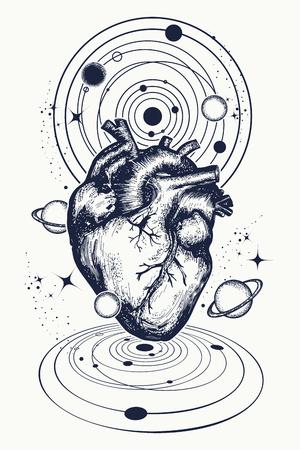 Ilustración de Heart in space tattoo. Anatomic heart among galaxies and planets. Symbol of love, philosophy, psychology, imagination, dream. Surreal heart t-shirt design - Imagen libre de derechos
