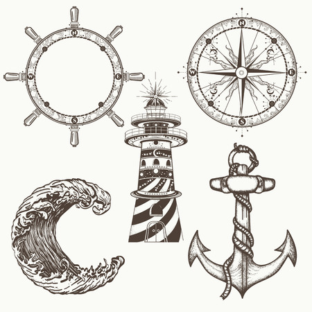 Illustration for Sea collection vintage elements vector. Anchor, steering wheel, compass, lighthouse, sea wave. Symbols of sea adventure voyage, tourism, outdoor. Hand drawn retro sea set - Royalty Free Image