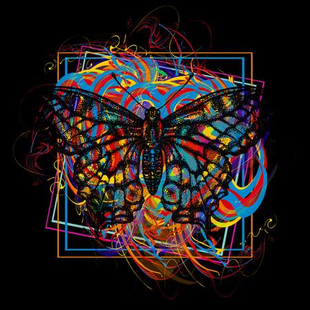 Ilustración de Color butterfly t-shirt design modern art element for design, poster, gift cards, flyers, brochures template. - Imagen libre de derechos