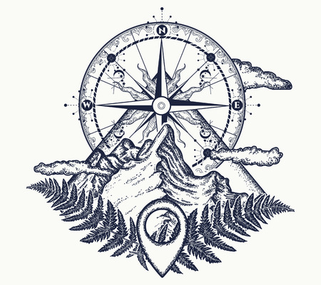 Illustration pour Mountains and compass tattoo. Symbol of tourism, rock climbing, camping. Mountain top and vintage compass tattoo and t-shirt design - image libre de droit
