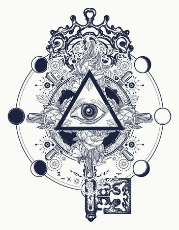 Illustration for Masonic eye and key tattoo symbols. Freemason and spiritual symbols. Alchemy, medieval religion, occultism, spirituality and esoteric tattoo. Magic eye, roses and steering wheel t-shirt design - Royalty Free Image